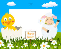 Horizontal Easter Frame - Chick & Lamb royalty free stock photography