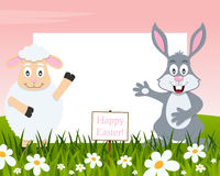 Horizontal Easter Frame - Lamb and Rabbit royalty free stock photo