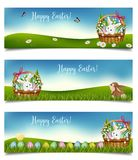 Horizontal Easter holiday banners. Vector royalty free stock photos