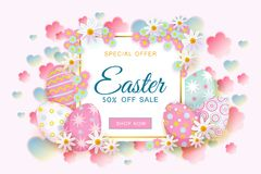 Easter sale banner with text, eggs and flowers. Horizontal Easter sale banner, flyer design with square frame decorated with flowers and painted eggs, vector Stock Images