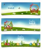 Horizontal Easter sale banners. Vector stock photo