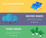 Horizontal Ecological Banners Set with Copy Space. Solar Panels, Trees, Home Plants on Multicolored Background. Eco Innovations, Inspire Minds, Think Green. 3d royalty free illustration