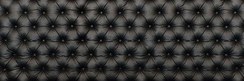 Horizontal elegant black leather texture with buttons for patter Royalty Free Stock Photos