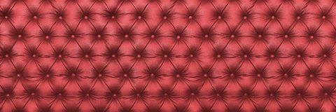 horizontal elegant dark red leather texture with buttons for pat stock image