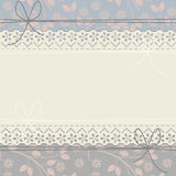 Horizontal elegant lace frame with decorative flowers and leaves Royalty Free Stock Photo
