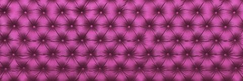 Horizontal elegant purple leather texture with buttons for patte. Rn and background Royalty Free Stock Photo
