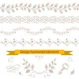 Horizontal elements. Horizontal flora elements. Vector illustration Royalty Free Stock Photo
