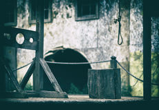 Horizontal empty blank medieval scaffold gallows design element Stock Images