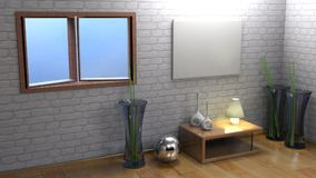Horizontal empty canvas hanging on the wall - 3D rendering. An horizontal blank canvas is hanging on a white brick wall of a room having wooden pavement, some Royalty Free Stock Images