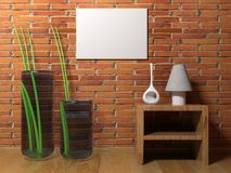 Horizontal empty canvas hanging on the wall - 3D rendering. An horizontal blank canvas is hanging on a red brick wall of a room having wooden pavement, some Stock Photos