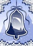 Horizontal et cloche de Noël Photographie stock