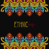 Horizontal ethnic african template. Blue and red colored horizontal ethnic african template, vector illustration, black background Stock Image