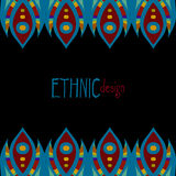 Horizontal ethnic african template. Blue and red colored horizontal ethnic african template, vector illustration, black background Royalty Free Stock Photography