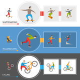 Horizontal Extreme City Sports Banners Stock Photography