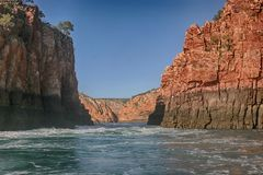Horizontal Falls both channels. From the wide gap the narrow gap is visible Royalty Free Stock Photo