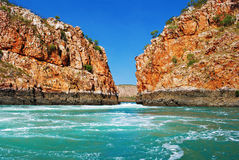 Horizontal Falls. A natural phenomenon on the coast of the Kimberley, Western Australia stock photo
