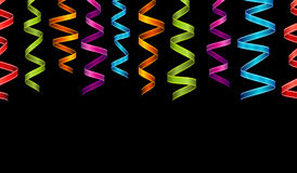 Horizontal Festive banner on a black background. Set of colorful ribbons and confetti. Decoration for New year, Christmas, birthday. Horizontal Festive banner Royalty Free Stock Photography