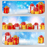 Horizontal festive winter banners Stock Image