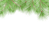 Horizontal fir tree branches frame for Christmas card. Horizontal fir tree branches frame for Christmas decoration on the white background with place for text Royalty Free Stock Photos