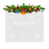 Horizontal Fir-tree branches with garland, Christmas tree toys and bells, snowflakes background vector illustration Royalty Free Stock Photography