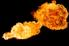 Horizontal Fireball. Isolated on a black background stock images
