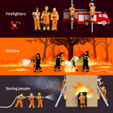 Horizontal Firefighter People Banners Set. Horizontal Firefighter people banners with firefighters alerting wildfire and brigade extinguishing flames in Stock Images