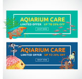 Horizontal flat aquarium banners with buying button. Fish  vector illustration. Cartoon flat aquarium banners with fish  vector illustration Stock Photo