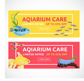 Horizontal flat aquarium banners with buying button. Fish  vector illustration. Cartoon flat aquarium banners with fish  vector illustration Stock Image