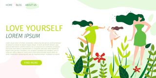 Horizontal Flat Banner Love Yourself and World. royalty free illustration