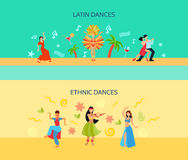 Horizontal Flat dance Style Banners Stock Images