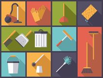 Cleaning and housework symbols vector illustration. Horizontal flat design long shadow illustration with housework and cleaning symbols Royalty Free Stock Photo