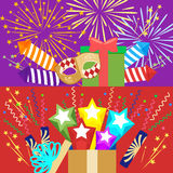 Horizontal flat pyrotechnics festival isolated banners. Flat illustration, EPS10. Horizontal flat pyrotechnics festival isolated banners. Flat illustration Stock Photo