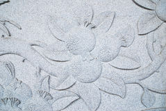 Horizontal flora Stone carving Stock Photo