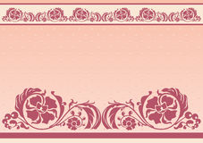 Horizontal floral frame in pink and beige colors Stock Photos