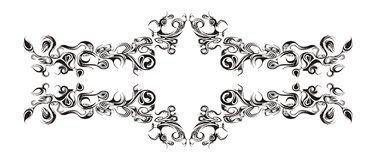 Horizontal floral ornament. Black and white floral ornament. Vector Royalty Free Stock Photography