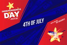 Horizontal Flyer Celebrate Happy 4th of July - Independence Day. Mega sale and hot discounts with a star and a realistic flame of. Fire. National American royalty free illustration