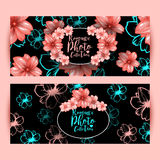 Horizontal flyers or brochure design with decorative oval frame and cherry pink flowers pattern. Stock Photos