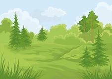 Horizontal, forêt d'été Photo libre de droits