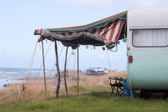 Horizontal format colour shot of caravan beside the sea, Gisborne, New Zealand Royalty Free Stock Images