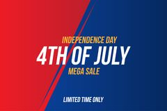 Horizontal Format Flyer Celebrate Happy 4th of July - Independence Day. Mega sale and hot discounts. National American holiday eve. Nt. Flat Vector illustration vector illustration