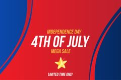 Horizontal Format Flyer Celebrate Happy 4th of July - Independence Day. Mega sale and hot discounts. National American holiday eve. Nt. Flat Vector illustration stock illustration