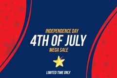 Horizontal Format Flyer Celebrate Happy 4th of July - Independence Day. Mega sale and hot discounts. National American holiday eve. Nt. Flat Vector illustration royalty free illustration