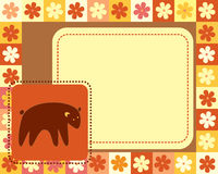 Horizontal frame  with bear Stock Photo