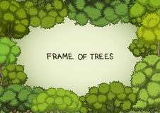 Horizontal frame of the cartoon deciduous trees Royalty Free Stock Photography