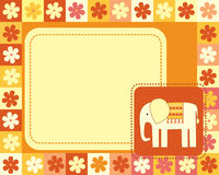 Horizontal frame  with elephant Stock Photography