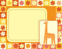 Horizontal frame  with giraffe Stock Photos