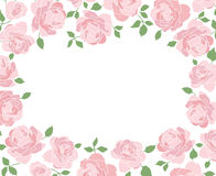 Horizontal frame made of hand drawn roses Stock Images