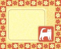 Horizontal frame with white cat vector illustration