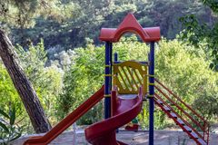 Horizontal front wide shot of colorful play ground for children stock image