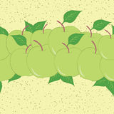 Horizontal fruit seamless hand drawn border with green apples and leaves. Stock Images